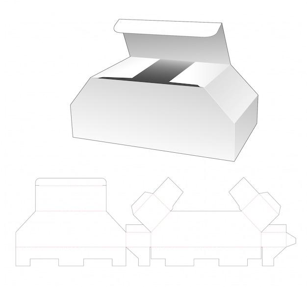 Conception de modèle de boîte en forme de coffre en carton découpé