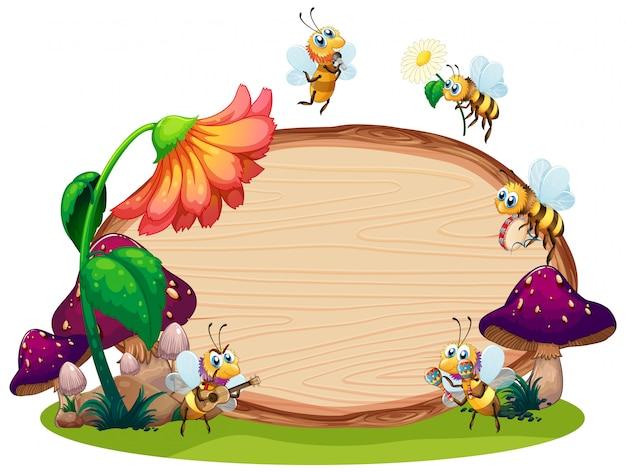 Conception de modèle de bordure avec des insectes dans le fond du jardin