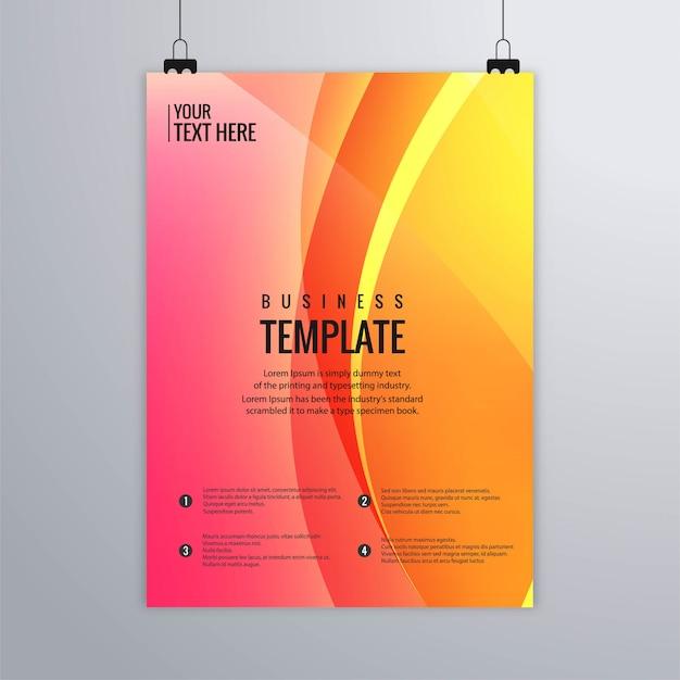 Conception de modèle de brochure abstrait buisness vague colorée