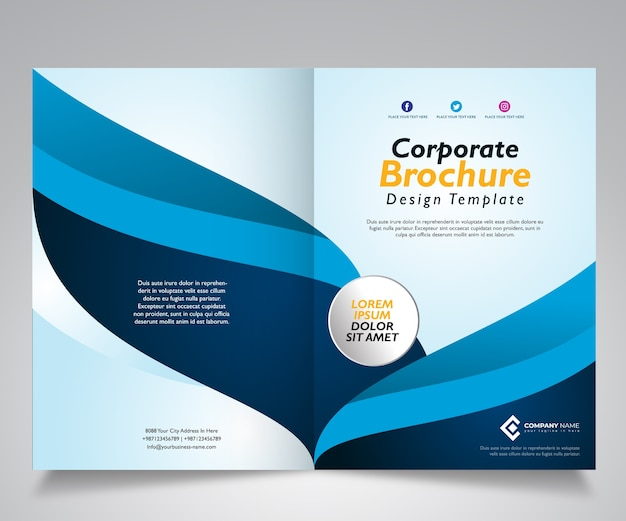 Conception de modèle de brochure avec la conception bleue de vague