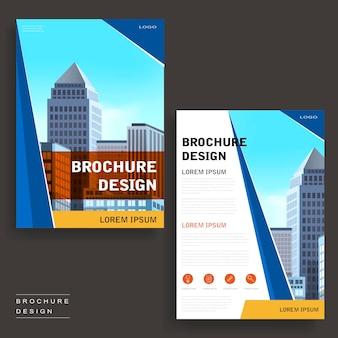 Conception de modèle de brochure contemporaine avec paysage urbain et éléments géométriques