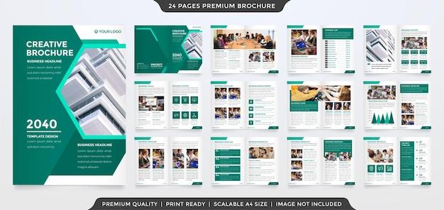 Conception de modèle de brochure à deux volets a4 avec une utilisation de style minimaliste et moderne pour le profil de l'entreprise