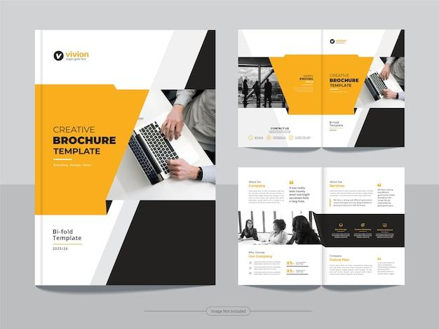 Conception de modèle de brochure à deux volets pour agence commerciale
