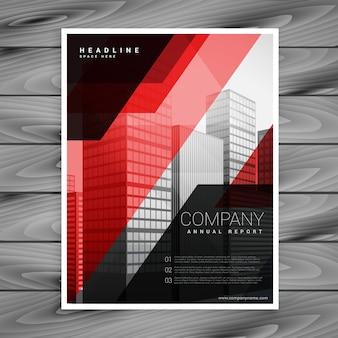 Conception de modèle de brochure d'entreprise abstrait noir rouge