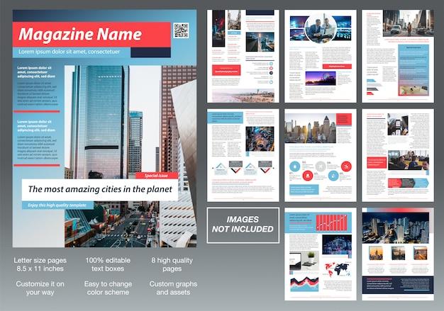 Conception de modèle de brochure magazine personnalisé moderne