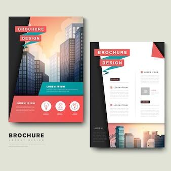 Conception de modèle de brochure à la mode avec paysage de la ville et éléments géométriques
