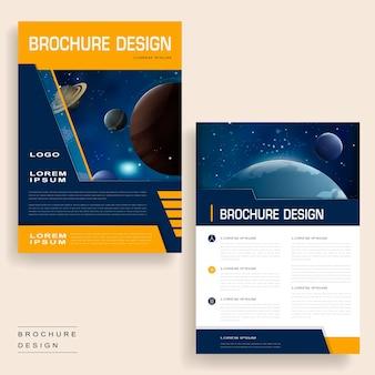 Conception de modèle de brochure à la mode avec des paysages d'univers et des éléments géométriques