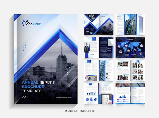 Conception de modèle de brochure de rapport annuel moderne de 16 pages créatives