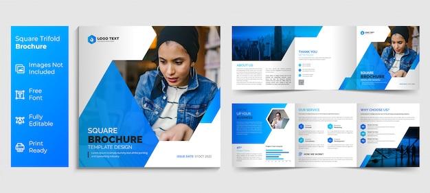 Conception de modèle de brochure à trois volets carré créatif