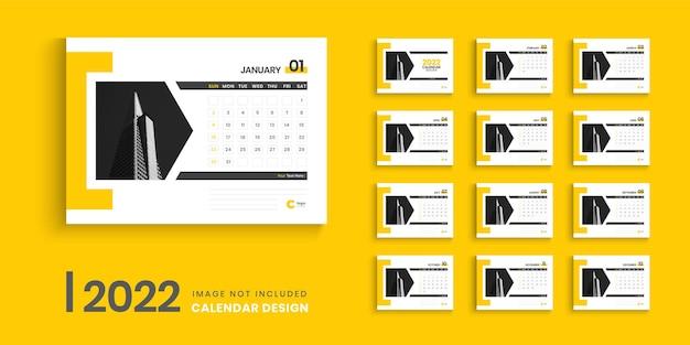Conception de modèle de calendrier 2022 ou conception de calendrier de bureau créatif pour 2022