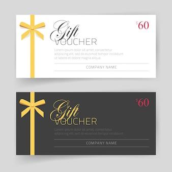 Conception de modèle de carte-cadeau ou de bon avec un arc cadeau mince doré couleur blanc et noir élégant moderne