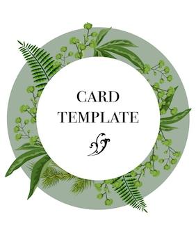 Conception de modèle de carte avec une couronne de verdure sur fond blanc. fête, événement, célébration.
