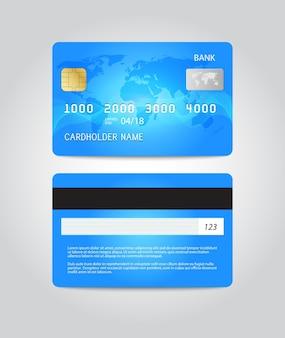 Conception de modèle de carte de crédit. deux côtés. illustration vectorielle.