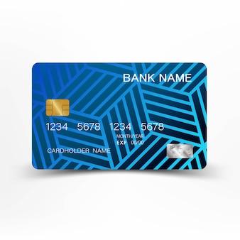 Conception de modèle de carte de crédit moderne bleu.
