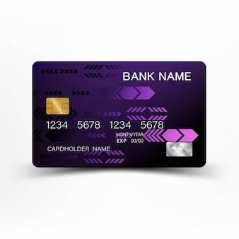 Conception de modèle de carte de crédit pourpre moderne.