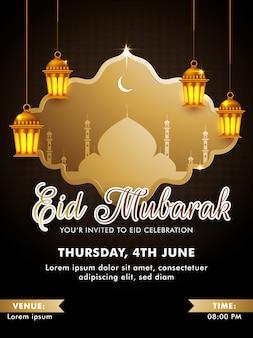 Conception de modèle de carte d'invitation eid mubarak avec mosquée silhouette