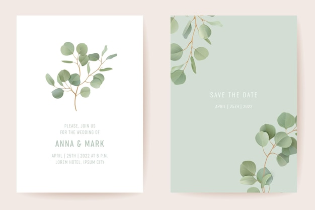 Conception de modèle de carte d'invitation de mariage botanique, ensemble de cadre de verdure de feuilles réalistes. eucalyptus, branches de feuilles vertes aquarelle vecteur minimal. enregistrer l'affiche moderne de date, fond de luxe à la mode