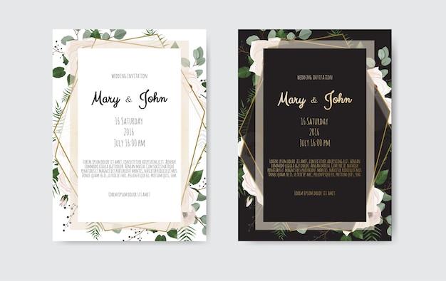 Conception de modèle de carte d'invitation de mariage botanique, fleurs blanches et roses.