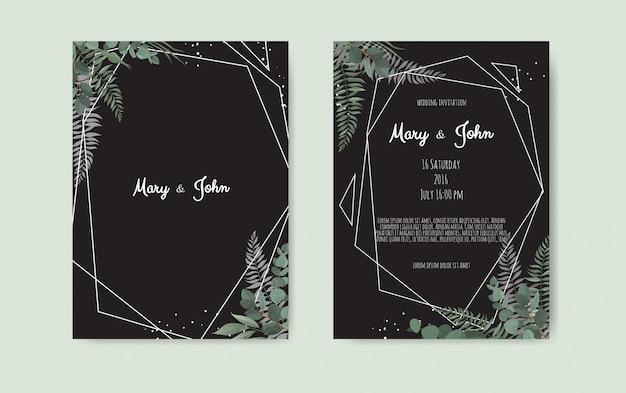 Conception de modèle de carte d'invitation de mariage botanique