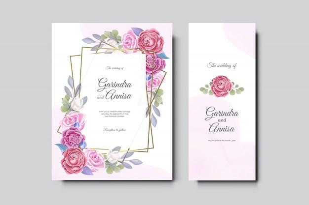 Conception de modèle de carte d'invitation de mariage élégant avec cadre doré et feuilles