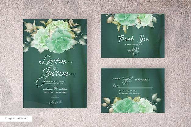 Conception de modèle de carte d'invitation de mariage élégant cadre floral