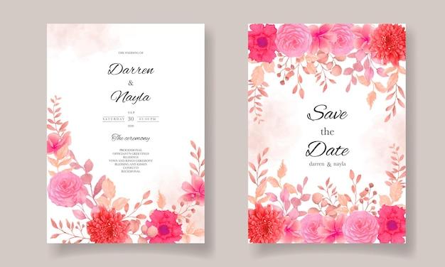 Conception de modèle de carte d'invitation de mariage élégant avec fleur bordeaux