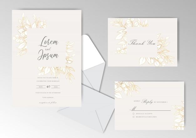 Conception de modèle de carte d'invitation de mariage floral doré