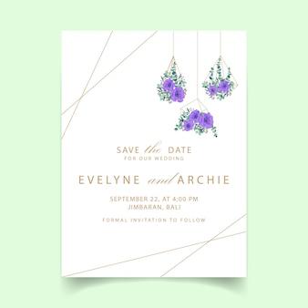 Conception de modèle de carte invitation mariage floral avec des fleurs d'anémone pourpre.