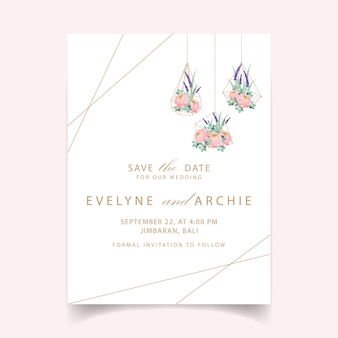 Conception de modèle de carte invitation mariage floral avec des fleurs de renoncule et de lavande.