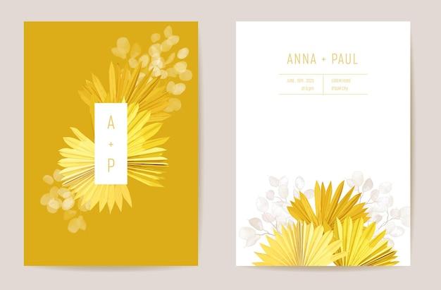 Conception de modèle de carte d'invitation de mariage minimal. feuilles de palmiers tropicaux, ensemble de cadres d'illustration de fleurs de lunaria, vecteur d'aquarelle d'herbe de pampa sèche. enregistrer l'affiche moderne de date, fond de luxe à la mode