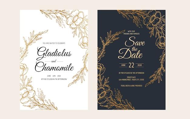 Conception de modèle de carte d'invitation de mariage minimaliste. modèle, cadre avec fleurs délicates, branches, plantes.