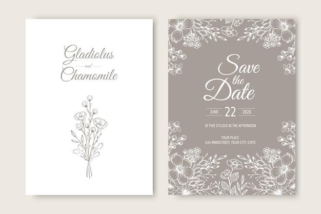 Conception de modèle de carte d'invitation de mariage. modèle, cadre avec fleurs, branches, plantes.