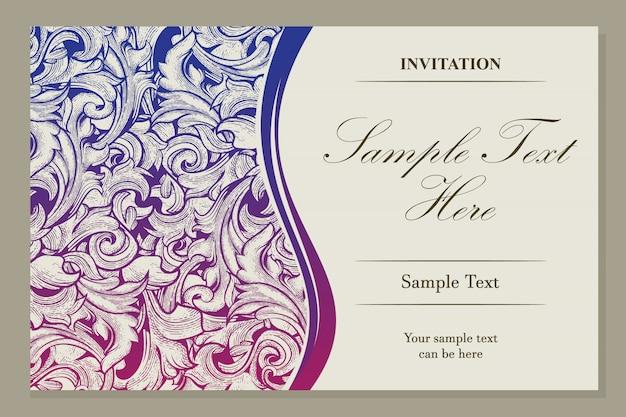 Conception de modèle de carte d'invitation. motif floral et badge