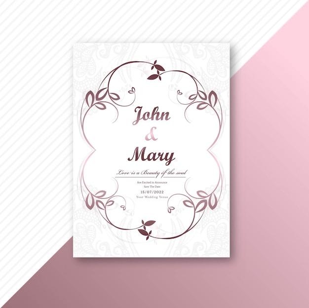 Conception de modèle de carte de mariage de cadre décoratif