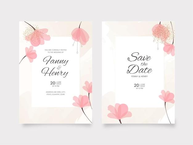 Conception de modèle de carte de mariage floral avec les détails du lieu.