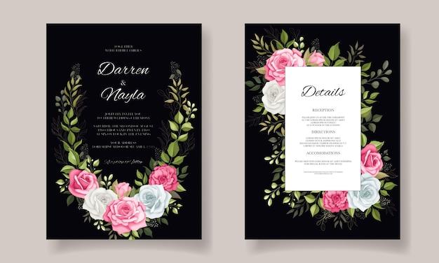 Conception de modèle de carte de mariage floral élégant