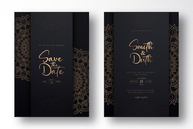 Conception de modèle de carte de mariage de luxe avec mandala de luxe dans le style de contour