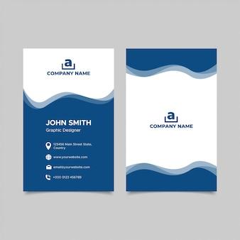 Conception de modèle de carte de visite bleu vertical