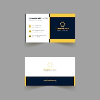 Conception de modèle de carte de visite avec des couleurs jaunes