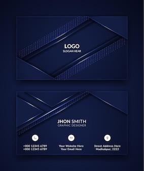 Conception de modèle de carte de visite moderne en couleur bleue.