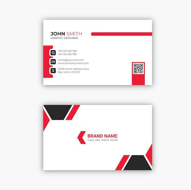 Conception de modèle de carte de visite moderne rouge et noir élégant professionnel vecteur premium