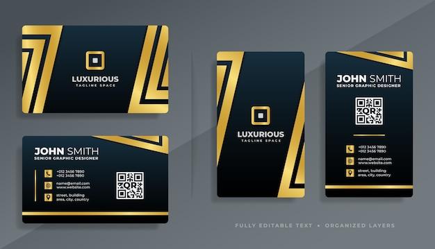 Conception de modèle de carte de visite professionnelle de luxe moderne avec combinaison de couleurs sombre et or