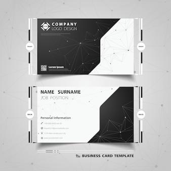Conception de modèle de carte de visite technologie abstraite noir et blanc