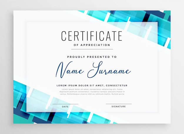 Conception de modèle de certificat d'appréciation bleu abstrait