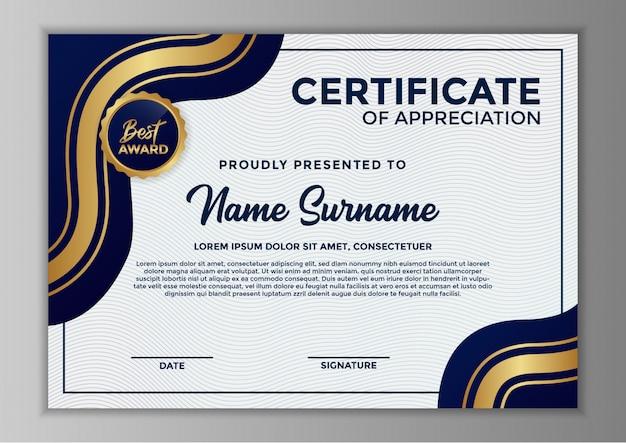 Conception de modèle de certificat d'appréciation
