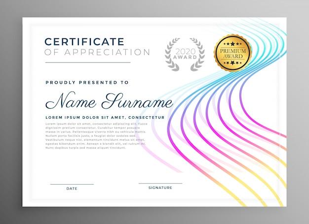 Conception de modèle de certificat créatif abstrait