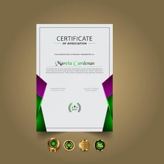 Conception de modèle de certificat élégant dégradé