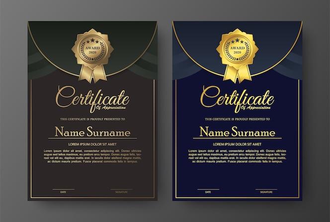 Conception de modèle de certificat élégant doré.