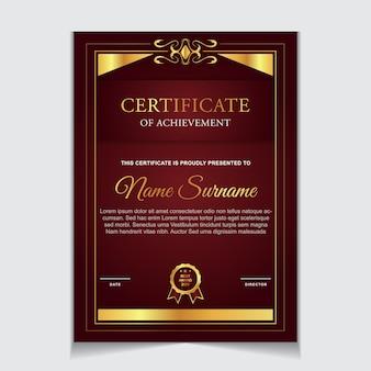 Conception de modèle de certificat avec des formes modernes de luxe en or