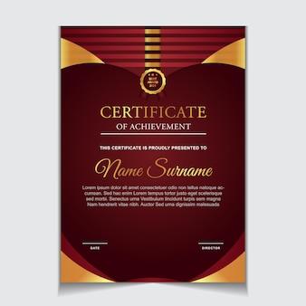 Conception de modèle de certificat avec des formes modernes rouges et luxueuses